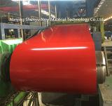 La couleur rouge a enduit les bobines d'une première couche de peinture galvanisées d'acier inoxydable