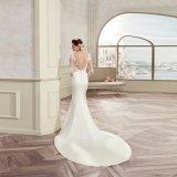 O laço elegante Appliques o vestido de casamento longo 2017 da sereia da luva do cetim