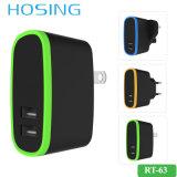 特別なデザイン5V 2.1A EU/Us/UKプラグiPhone/Huawei/Samsungのための二重USBの充電器