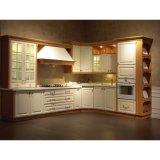 真新しく白いラッカーL字型食器棚デザイン