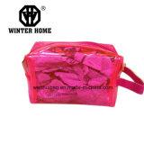 Sac imperméable à l'eau transparent de produit de beauté de PVC de rose de type de mode