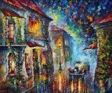 Красивейшая греческая картина пейзажа городка моря влюбленности для домашнего украшения