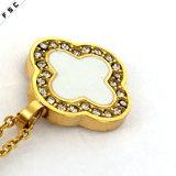 Colgante cristalino plateado oro afortunado del collar de las mujeres del acero inoxidable de la flor