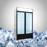 Коммерчески холодильник с двойной прикрепленной на петлях стеклянной дверью