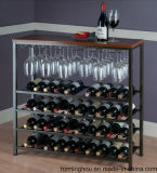Полки стеллажа для выставки товаров вина кухни с древесиной и металлом