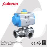 Válvula de esfera sanitária pneumática do aço inoxidável