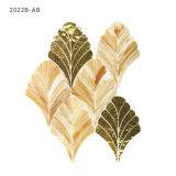 Decoración de la pared de oro y marrón de la hoja de la joya de cristal del mosaico del azulejo