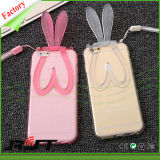 Caja transparente del teléfono celular de la caja del teléfono móvil de TPU para el iPhone 6 con los oídos de conejo