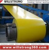 Катушка покрытия PVDF алюминиевая в желтом цвете