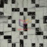 Matt mélangé blanc et noir avec la tuile de mosaïque en cristal glacée (CCG201)
