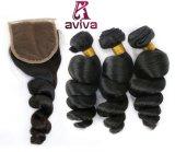 Le double brésilien d'armure de cheveu de Remy de Vierge noient l'armure desserrée d'onde de cheveux humains