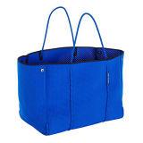Saco de compra perfurado azul do neopreno do saco do punho do neopreno do saco de Tote do neopreno