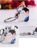 Изготовленный на заказ кристаллический ключевое кольцо с фотоими печатание