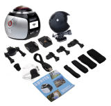 Macchina fotografica sferica di Vr di panorama di 360 gradi con la micro scheda libera di deviazione standard 16g per la fabbricazione dei 360 video, macchina fotografica di Digitahi della camma del Portable 360 con il APP libero & adattatore del supporto