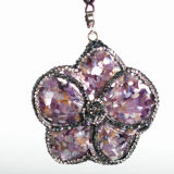 Rinestoneの方法Gemstone Charm Flower Crystal Pendant