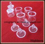 Vidrio de Borosilicate inferior claro de la forma del laboratorio que pesa la botella