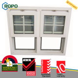UPVC/PVC choisissent le guichet en verre vertical arrêté de glissement avec le modèle de gril