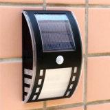 Negro al aire libre accionado solar de la plata del jardín de la lámpara de pared de la azotea del camino de la yarda del bulbo de la luz 2 LED del camino de la inundación de la pared de la seguridad del sensor de movimiento del movimiento PIR
