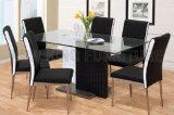 セットされる台所家具の緩和されたガラスの食卓のステンレス鋼のダイニングテーブル(NK-DTB001)