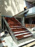 Escalera moderna 2016 del vidrio del acero inoxidable del material 304 de Hua de ka