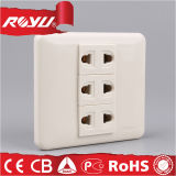 Socket de potencia eléctrico doble de la pared del Pin del blanco 2
