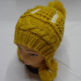 POM POMケーブルの手によって編まれる冬の帽子の帽子の帽子