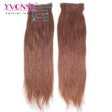 Clip verdadero superior del pelo humano del 100% en extensiones del pelo