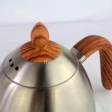 Nueva Itemstainless de acero con mango de madera del pote del café