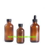 botella de cristal redonda ambarina de 2oz 60ml Boston con el cuentagotas del vidrio de la prueba del niño