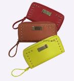 Повелительница Бумажник способа мешка Smartphone бумажника PU декора металлической пластинкы металла