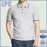 Camisa de polo lisa Short-Sleeved cinzenta do algodão de 2016 formas