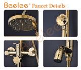 Luxuray Antique Copper Golden 3 Functions Dule Handle Bathroom Rainfall Shower Faucet avec Divertor