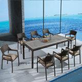 Tabella superiore PS-Di legno con l'insieme pranzante esterno del giardino della mobilia della Cina della mobilia della presidenza del rattan