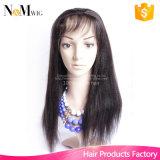 Peruca feito-à-medida da peruca baixa de seda reta Kinky brasileira do cabelo da parte dianteira do laço 100 perucas do cabelo humano para americanos africanos