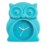 Funny Animal Owl Shape Mini Snooze Mute Silicone Desk Alarm Horloges pour étudiants