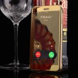 El lujo electrochapa la caja elegante de la opinión clara del tirón del espejo de cuero de la ventana para el iPhone 7
