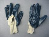 Перчатка запястья руки Knit вкладыша блокировки голубого нитрила Semi-Coated