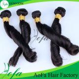 Perucas indianas pretas naturais do cabelo humano do Virgin da onda da mola