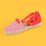 كلاسيكيّة نسيج مربّع يربط نوع خيش فوق حمراء وأبيض [إسبدريلّ] أحذية