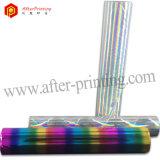 多色刷りの虹の織物の押すホイル