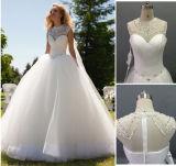 2016 vestido de casamento de cristal do Neckline do trem do assoalho Length/No