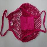 Sac net de Rose de coton lumineux de couleur rouge avec la double courroie