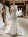 Perlando o vestido de casamento do laço da sereia da cabeçada com aberto para trás