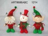 """13 """" H che si levano in piedi la decorazione 3 Asst di natale della Santa, del pupazzo di neve e dell'elfo"""