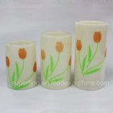 Produtos plásticos da vela do Natal elétrico decorativo romântico dos TERMAS com Tulip bonito Pinting