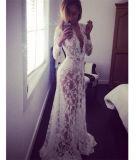 Шнурка втулки V-Шеи сбывания Eaby платье горячего белого сексуального глубокого длиннего шикарное длиннее (17010)
