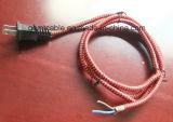 Шнур питания AC тканья цветастой ткани Braided