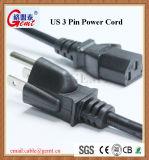 Standard3 Pin-Stecker UL-USA amerikanischer mit rundem Kabel-und PC Energien-Verbinder-amerikanischem Standard wir 3 Pin Wechselstrom-Netzkabel