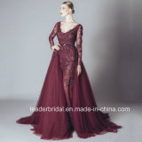 O baile de finalistas longo de Tulle do laço de Borgonha dos vestidos de noite da luva veste Z810