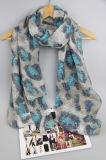 Polyester gedruckte Blumen-Schals, Schal für Mädchen-Form-Zusatzgerät